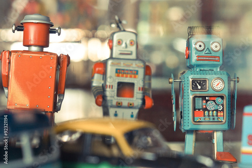 Poster old classic tin robot toys