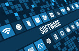 Software concept image with technology icons and copyspace
