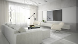 Fototapety Interior of stylish modern room  with white sofa 3D rendering 2