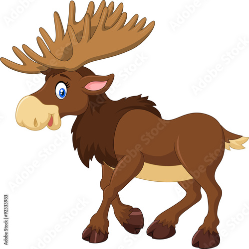 mata magnetyczna Cartoon happy moose with big horns