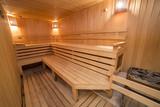 Sauna interior comfortable wooden room spa indoors