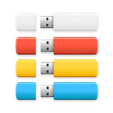 Fototapety  USB Flash Drive Colorful Set. Vector