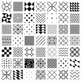 Set of geometric seamless patterns, triangles, lines, circles. Black and white different background - 92348111