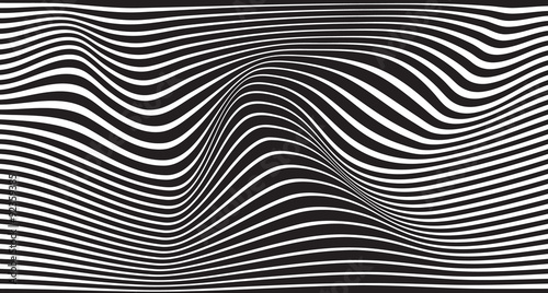 Fototapeta black and white mobious wave stripe optical design