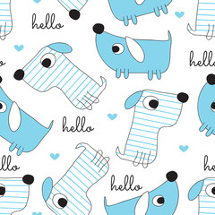 seamless dog pattern vector illustration