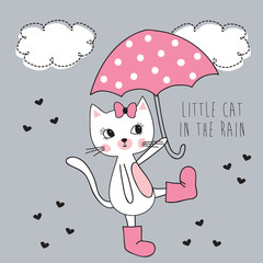 little cat in the rain vector illustration