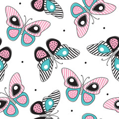 seamless striped butterfly pattern vector illustration