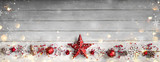 Fototapety Christmas Ornament In Row On Vintage Wooden Plank