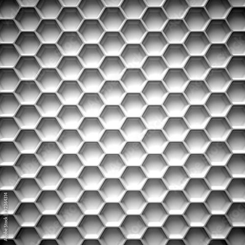 Fototapeta Black and white honeycomb. Abstract background. 3D illustration isolated on white background