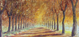 Fototapeta Road in the autumn forest, oil painting