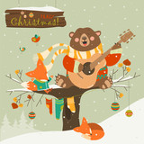 Fototapety Cute bear and little fox celebrating Christmas