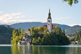 Fototapety Panoramic view of Lake Bled located in Slovenia Europe