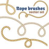 Fototapety Rope brushes set. Realistic vector design.