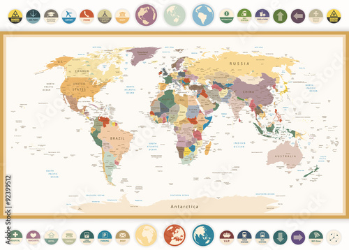 Political World Map with flat icons and globes.Vintage colors.