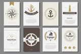 Set of  nautical brochures in vintage style