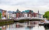 Fototapety View of Dublin with the Ha'penny Bridge - Ireland