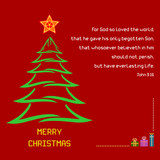 Christmas Holy Bible verse John 3:16 - A Christmas greeting with brush stroke tree and colorful star against a red background. Bible verse John 3:16 is displayed along with Merry Christmas message. poster