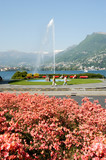 The water jet on the bay of Lugano