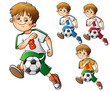 Set of boys playing football isolated on white