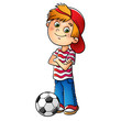 Boy in a red cap with a soccer ball