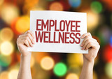 Fototapety Employee Benefits placard with bokeh background