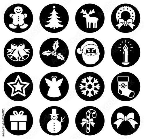 Sammlung: Runde, schwarz-weiße, weihnachtliche Buttons / Flat Design / Vektor / freigestellt