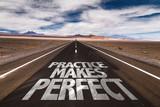 Practice Makes Perfect written on desert road - 92451193