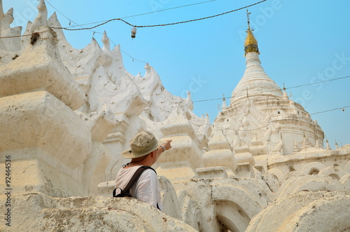 Poster Man in white temple in Mandalay