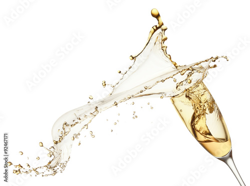 Plagát champagne splash from glass isolated on the white background
