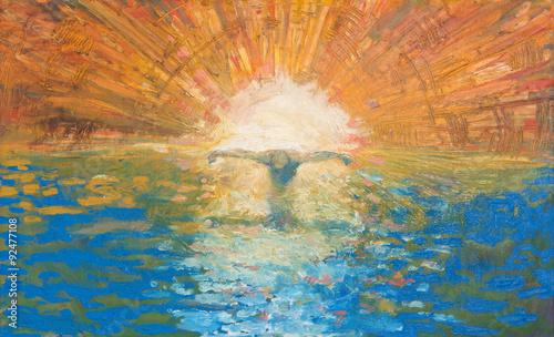 Fototapeta Jerusalem - Crucified Jesus as the light of the world modern painting