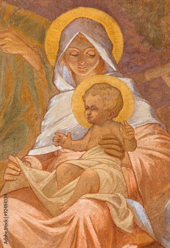 Fototapeta Banska Bela - fresco of Holy Family in St. John the Evangelist church
