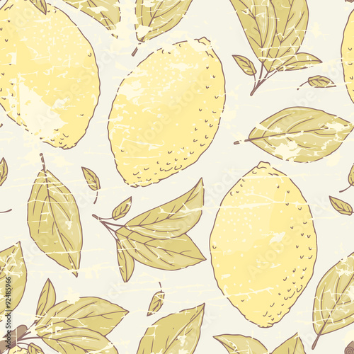 Vintage seamless pattern with hand drawn lemon and leaves. Doodle fruit for package or kitchen design - 92485966