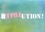 Fototapety revolution - love graffiti logo on textured wall