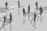 Silhouettes of people on the gray cartography. poster