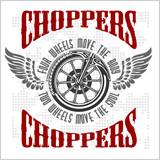 Fototapety Choppers - vector vintage bikers badge.