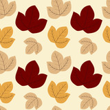 soft autumn leaf seamless vector pattern background texture illustration