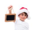kleiner weihnachtsmann mit hinweisschild immagini e fotografie royalty free su. Black Bedroom Furniture Sets. Home Design Ideas