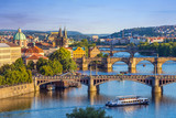 Fototapety Prague city skyline and Charles Bridge, Prague, Czech Republic