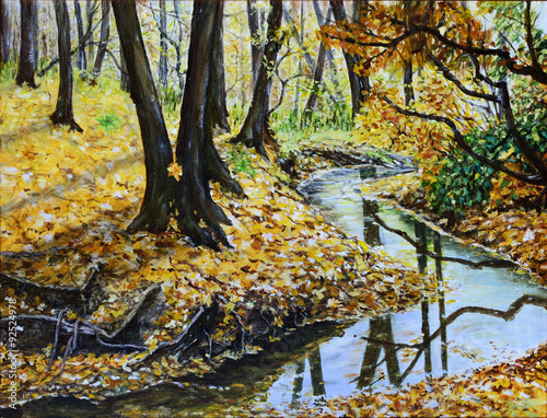 Autumn forest with a stream original landscape