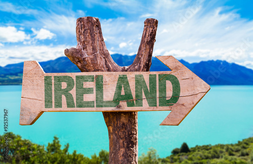 Ireland wooden sign with lake background