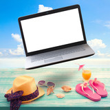 Summer background with necessities and laptop white screen. poster