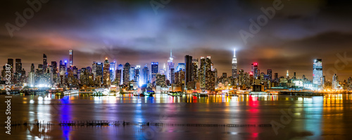 New York Panorama on a cloudy night