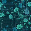 Seamless pattern of abstract flowers.