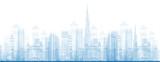 Outline Dubai City Skyscrapers in blue color