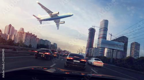 miastowy-krajobraz-z-latajacym-samolotem-w-niebie-widok-z-samochodu-cyfrowe-ilustracji
