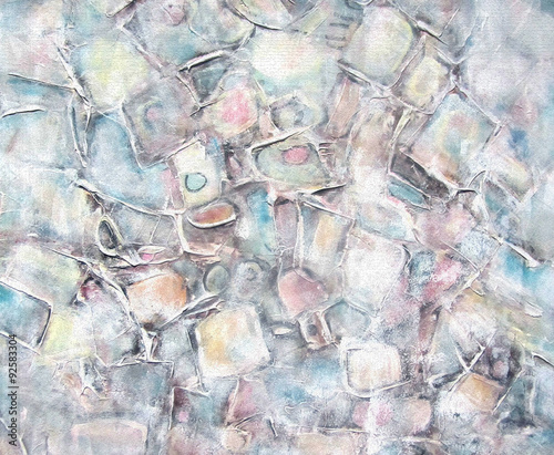 Art abstract painted background with white, light gray, brown and blue square shapes. Interior decor. Grunge background. Brush stroke texture units.Color light pastel shades. © liyavihola
