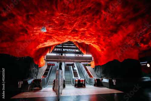 Poster Stockholm Escalator in Modern Stockholm Metro Train Station in Blue colors