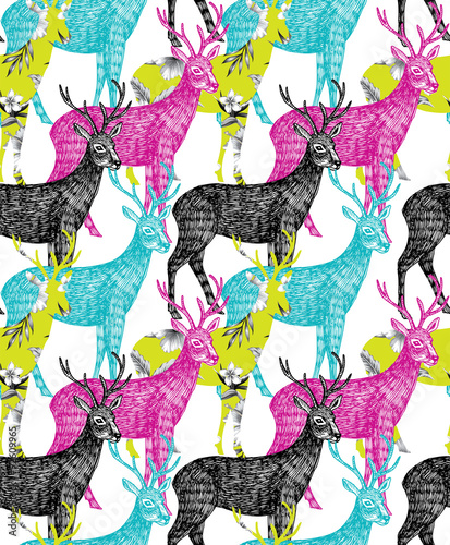 obraz lub plakat deer hand drawn seamless background