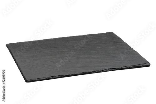 empty plaque d 39 ardoise noire isol sur fond blanc poster affiche acheter le sur. Black Bedroom Furniture Sets. Home Design Ideas