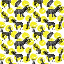 Animales de invierno dibujados a mano de fondo sin fisuras